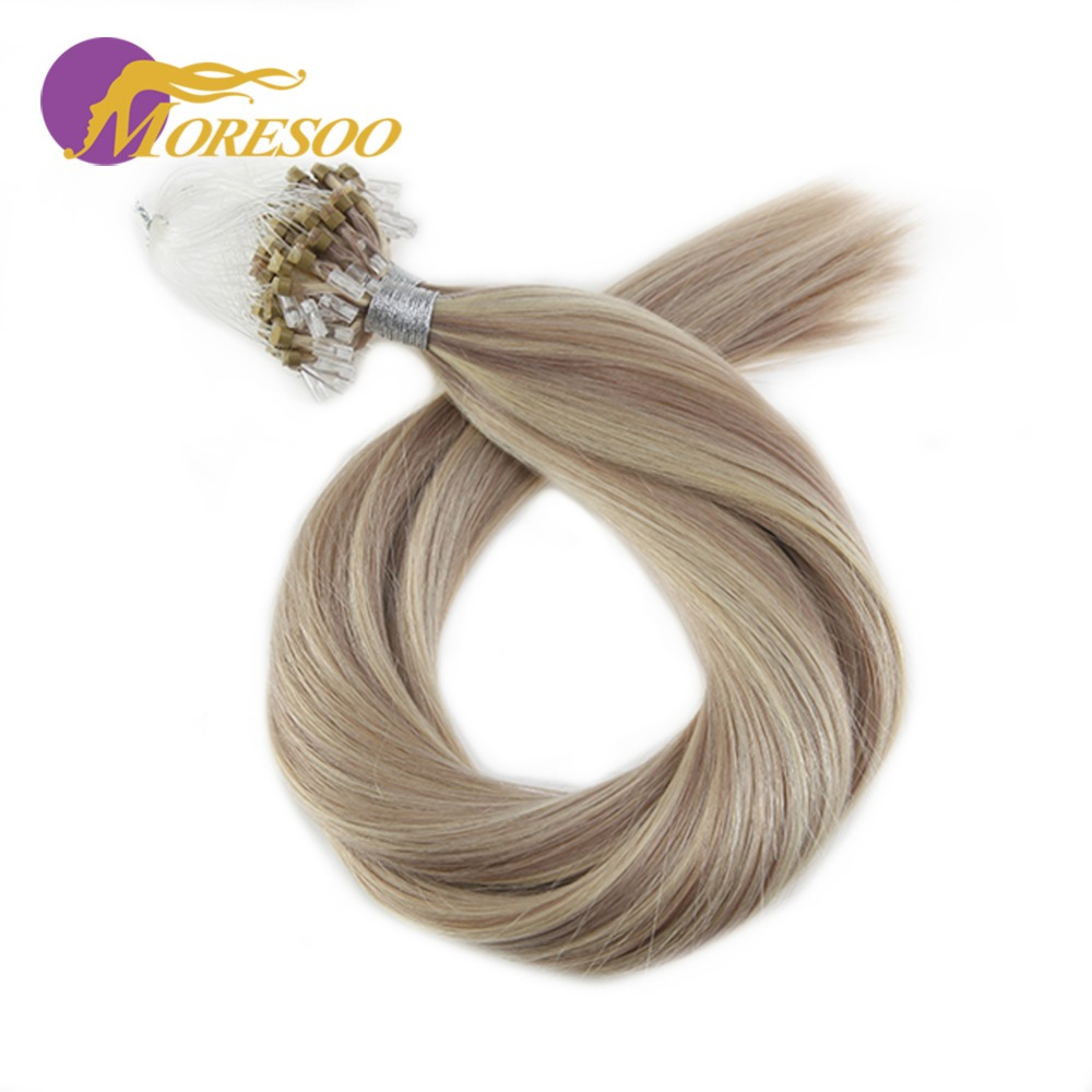 Moresoo Micro Loop Remy Human Hair Extensions Micro Ring Hair Beads Extensions Colorful Ombre And Highlight Hair Color 1G/1S 50G