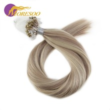 цена на Moresoo Micro Loop Remy Human Hair Extensions Micro Ring Hair Beads Extensions Colorful Ombre and Highlight Hair Color 1G/1S 50G