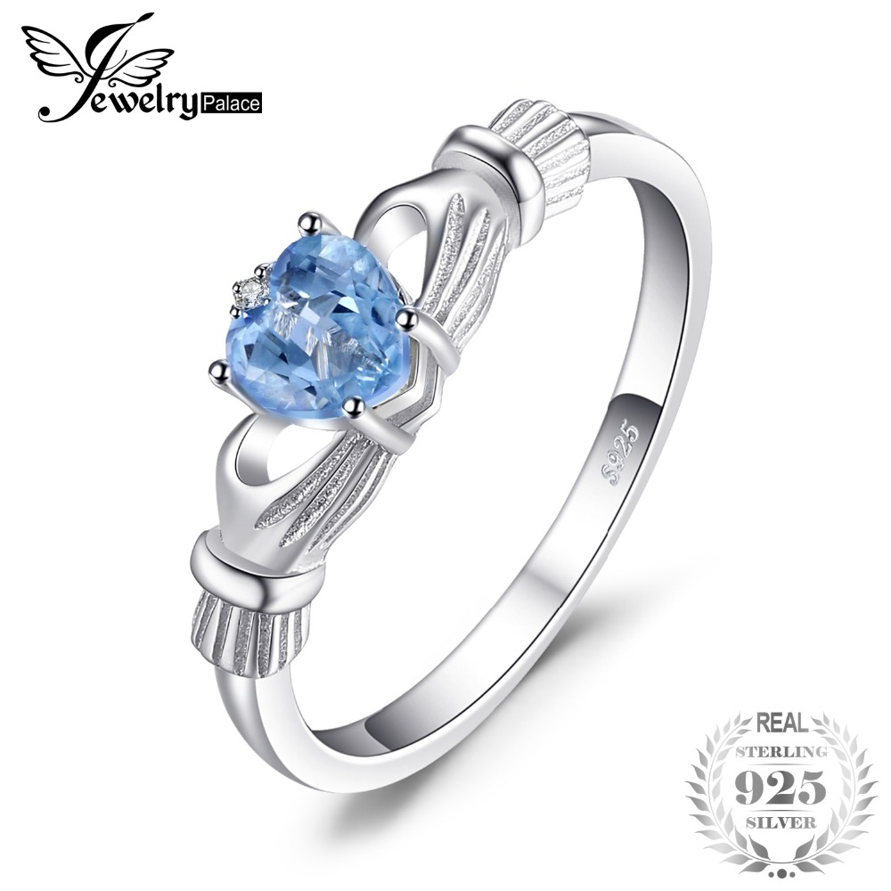JewelryPalace Natural Aquamarine Irish Claddagh Ring Solid 925 Sterling Silver Love Heart Women Fine Gemstone Jewelry On SaleJewelryPalace Natural Aquamarine Irish Claddagh Ring Solid 925 Sterling Silver Love Heart Women Fine Gemstone Jewelry On Sale