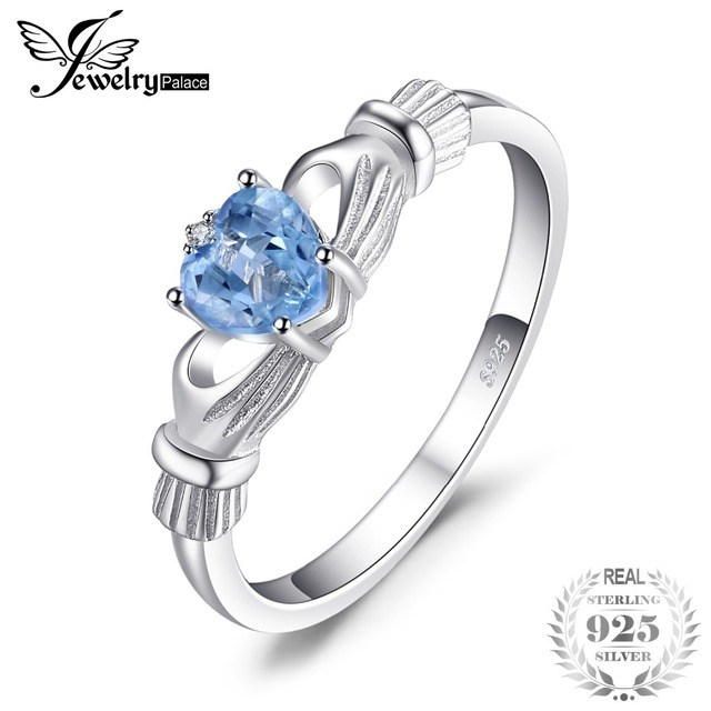 JewelryPalace Natural Aquamarine Irish Claddagh Ring Solid 925 Sterling Silver L