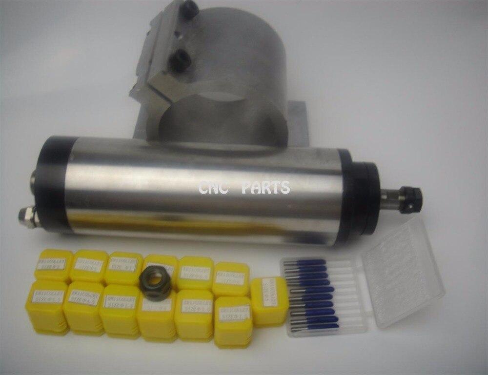 Фрезерные шпинделя ER11 800 Вт шпиндель водяного охлаждения + 13 шт. ER11 цанги + 10 шт. гравировальный биты + поддержка шпинделя + er11nut