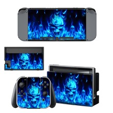 Nintend Switch Vinyl Skins Sticker For Nintendo Console and Controller Skin Set - Blue Fire Devils