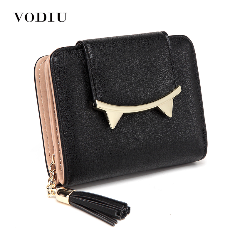 Women Wallet Female Purse Leather Cute Cat Anime Trifold Card Holder Coin Purses Brand Short Clutch Tassel Black Small Wallets