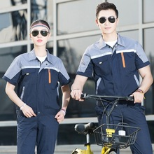 Short Sleeve Thin Workshop Overalls Summer Half Sleeve Engineering Uniform Clothing Car Repair Work Wear Overalls 90(China)