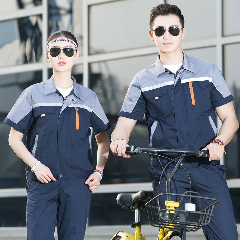 Short Sleeve Thin Workshop Overalls Summer Half Sleeve Engineering Uniform Clothing Car Repair Work Wear Overalls 90