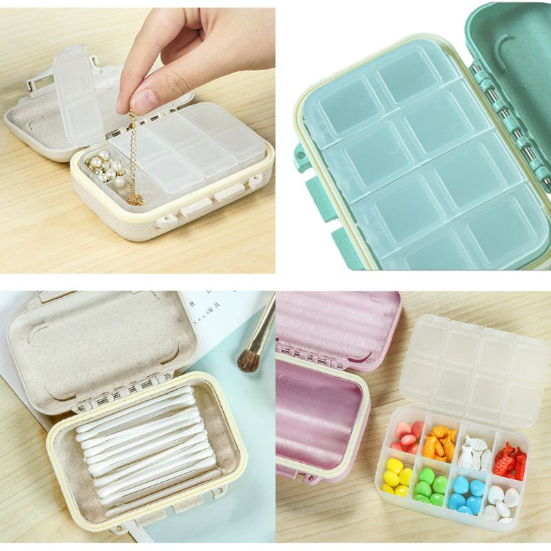 Portable Travel Pill Box Daily Vitamin Holder Case 8 Compartments Medicine Tablet Organizer Container Jewelry Storage