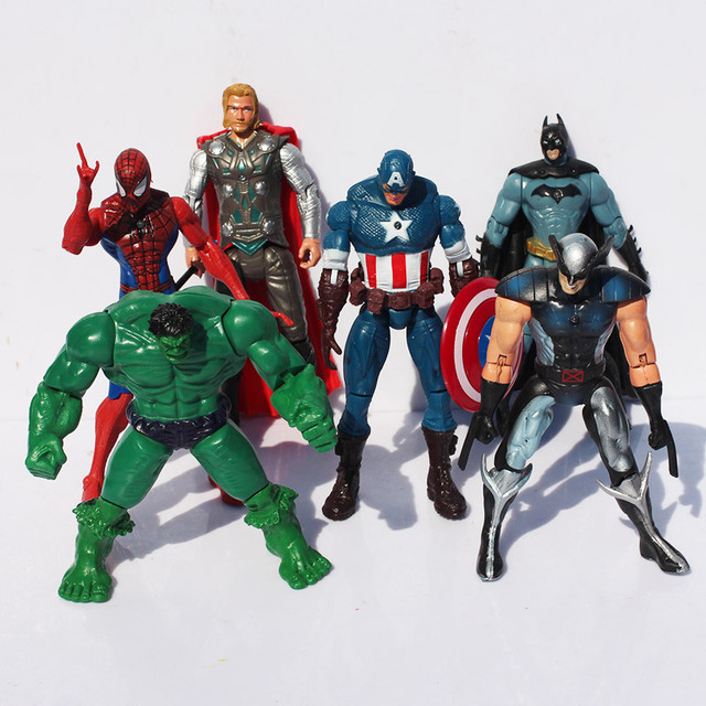 """The Avengers 5"""" Captain America Wolverine Thor Spiderman Batman super heros 14cm Action Figures Toy Set of 6 Free shipping"""