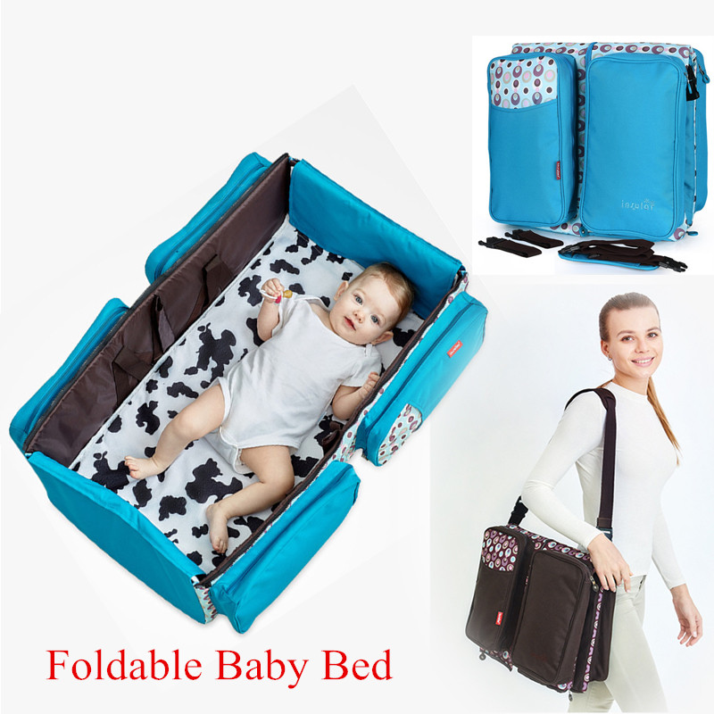 Foldable Portable Bed Folding baby crib Baby Bed With Netting Infant Nursery Cradles High Quality single breasted dip hem top