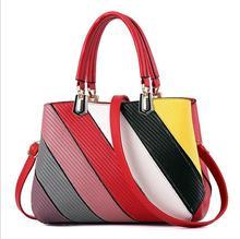 2017 in Europe and the bag color stripe splicing into female bag Litchi grain handbag One shoulder aslant package