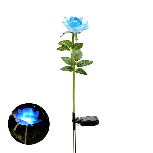 Solar Power LED Single Fake Rose Flower Garden Stake Landscape Lamp Outdoor  Yard Party Decor Lights