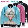 5 Design S-XL High grade Marilyn monroe print  jacket sportswear women men windbreak coat marylin pattern winter outwear