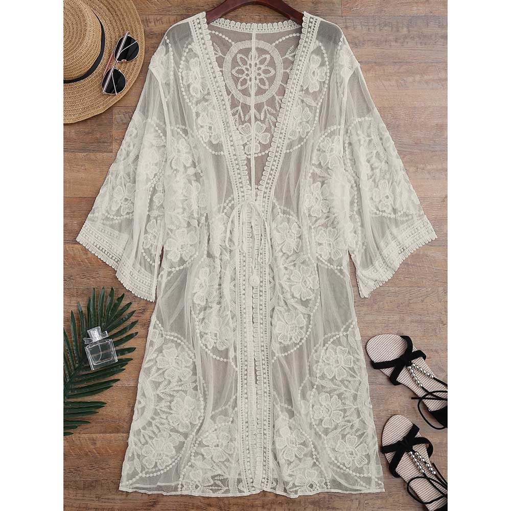 цена Embroidered Sheer Swimsuit Cover Up See Through Lace Bikini Cover Up Women Tunic Robe De Plage Beach Cover Up Cardigan