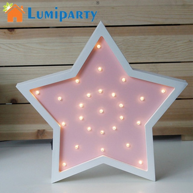 LumiParty Cute LED Lamp Wooden 5-pointed Star Night Light Creative Desk Lamp Home Decoration Children 's Birthday Gift