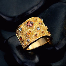 luxurious Multicoloured Rhinestones Finger Rings Wide For women Gold Color Paved wedding ring
