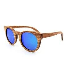 Men and Women Vintage Round Polarizing  Wooden Sunglasses Personality Unisex Color Film Coating