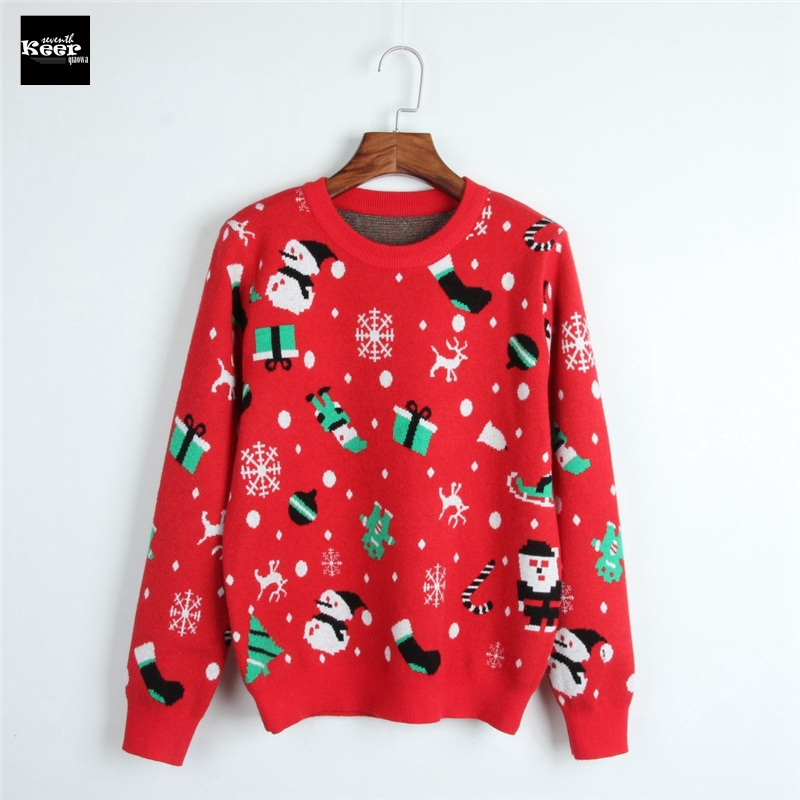 2018 New Fashion Sweater Female Pullovers Christmas Tree Snowflake Red Knitted Sweaters Pullover Runway Designer Tops Jumper
