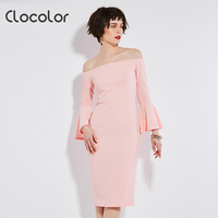 Clocolor Women Bodycon Dress Black Pink Flare Sleeve Autumn 2017 Women Workwear Slash Neck Zipper Women