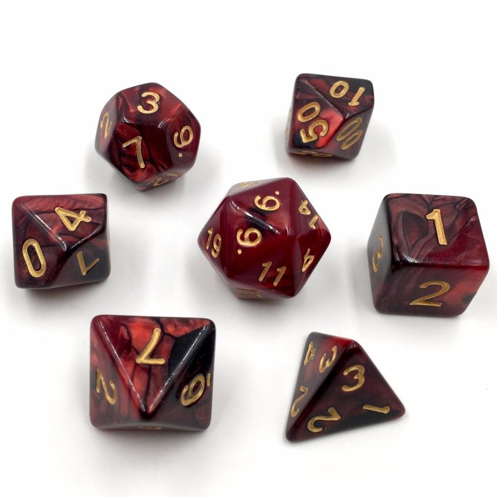 Rollooo DND Dice Set Of 7  Gemini Color Black And Red  D4 D6 D8 D10 D% D12 D20