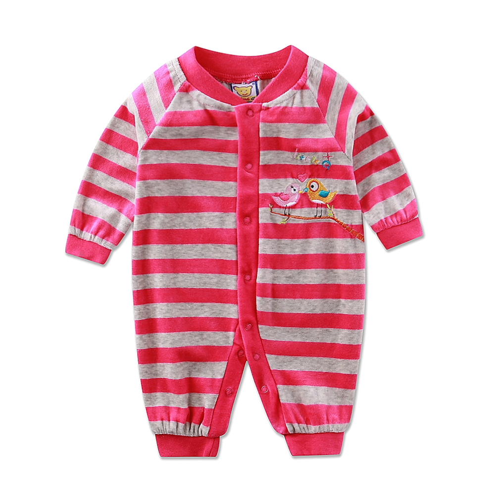 Baby Suits Girls One Piece Rompers Boys Sleepwears Newborn Spring Autumn Velour Long Sleeve Button Clothing Kids Striped Clothes baby rompers 2016 spring autumn style overalls star printing cotton newborn baby boys girls clothes long sleeve hooded outfits