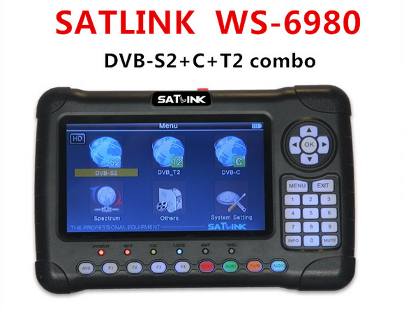 Satlink WS-6980 DVB-S2 DVB-T/T2 DVB-C Combo 6980 Digital Satellite Finder 7 inch HD Screen Spectrum Analyzer constellation