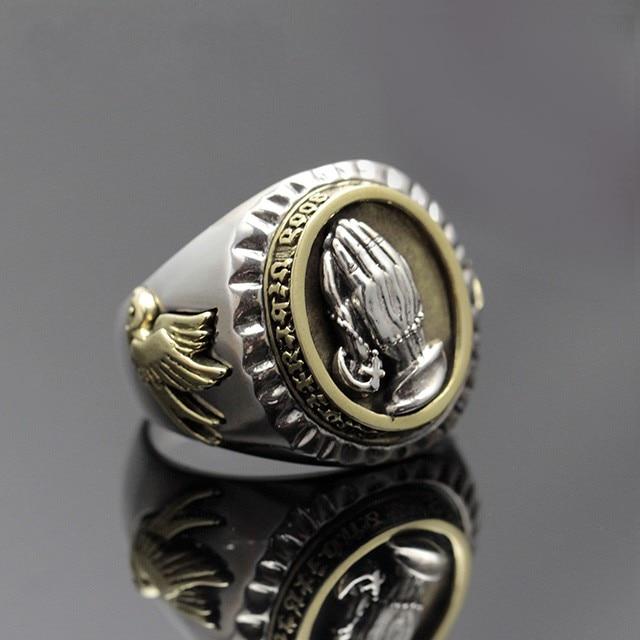 Retro Thai silver jewelry men open ring prayer hand s925 sterling silver personality fashion