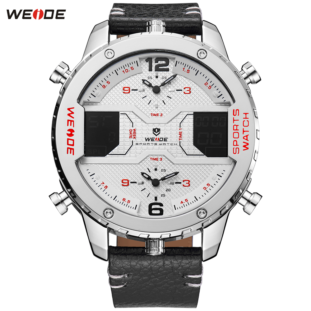 Fashion Brand WEIDE Alarm Week Watch Mens Digital Quartz Movement Men Waterproof Multiple Time Leather Band Wristwatch Relogios купить недорого в Москве