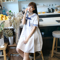 2017 New Mori Girl Spring And Summer Pure Style Lacing Navy Sailor Suit Preppy Style Uniform