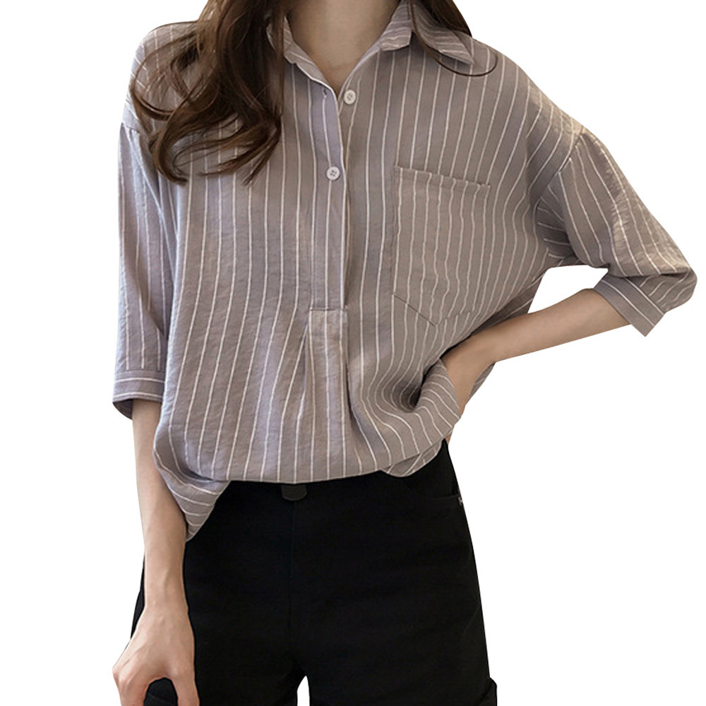JAYCOSIN 2018 Fashion Women Striped 3/4 Sleeve Button Casual Loose Plus Size Work Shirt Top Blouse dropshipping csv QG18