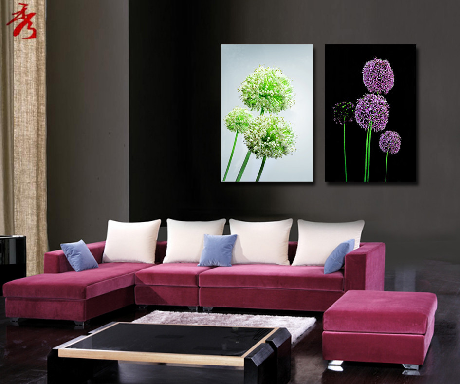 16x24 inch purple green dandelion canvas printing painting flowers modular picture for living room wall unframed