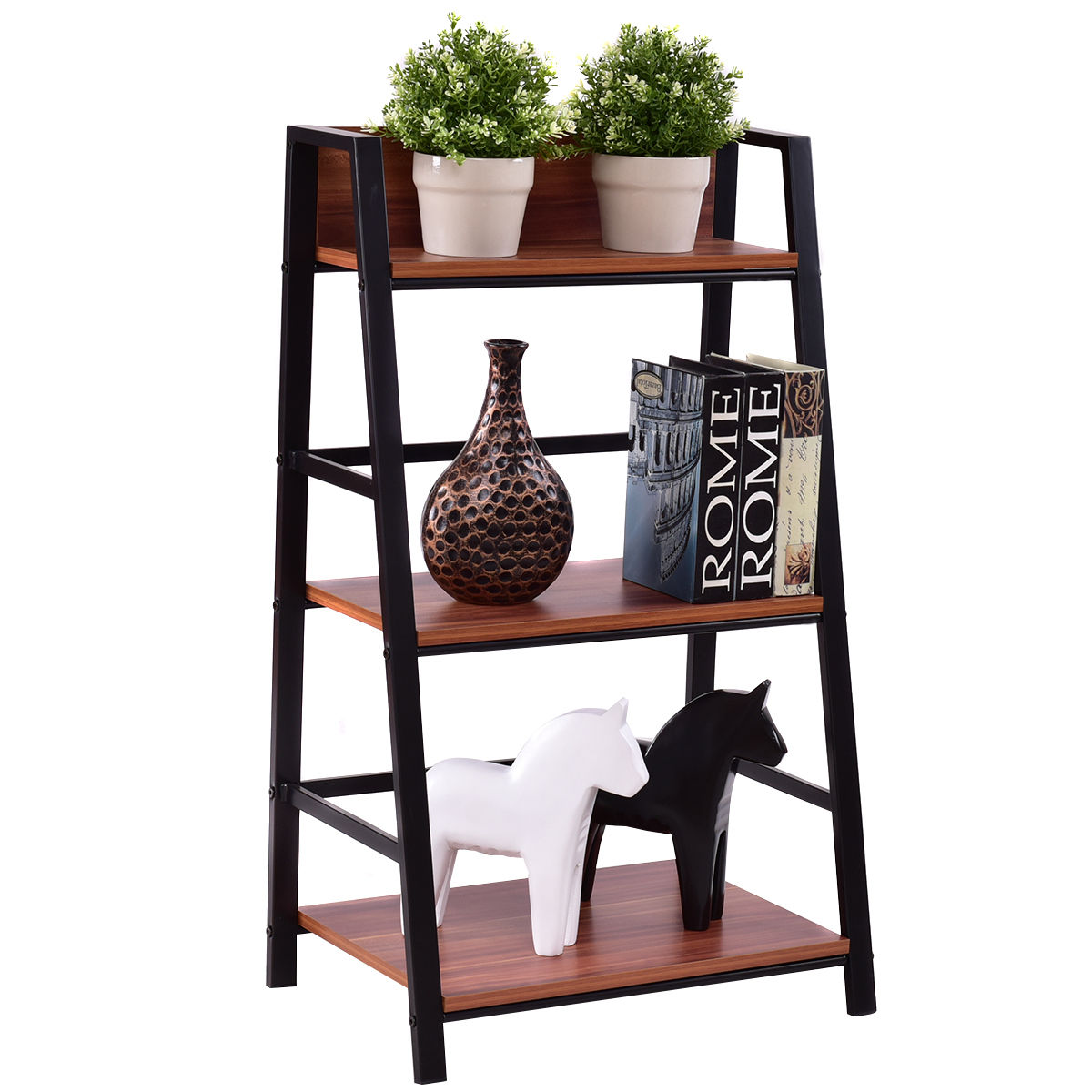 Living Room With Bookshelf: Giantex 3 Tier Ladder Display Shlf Living Room Storage