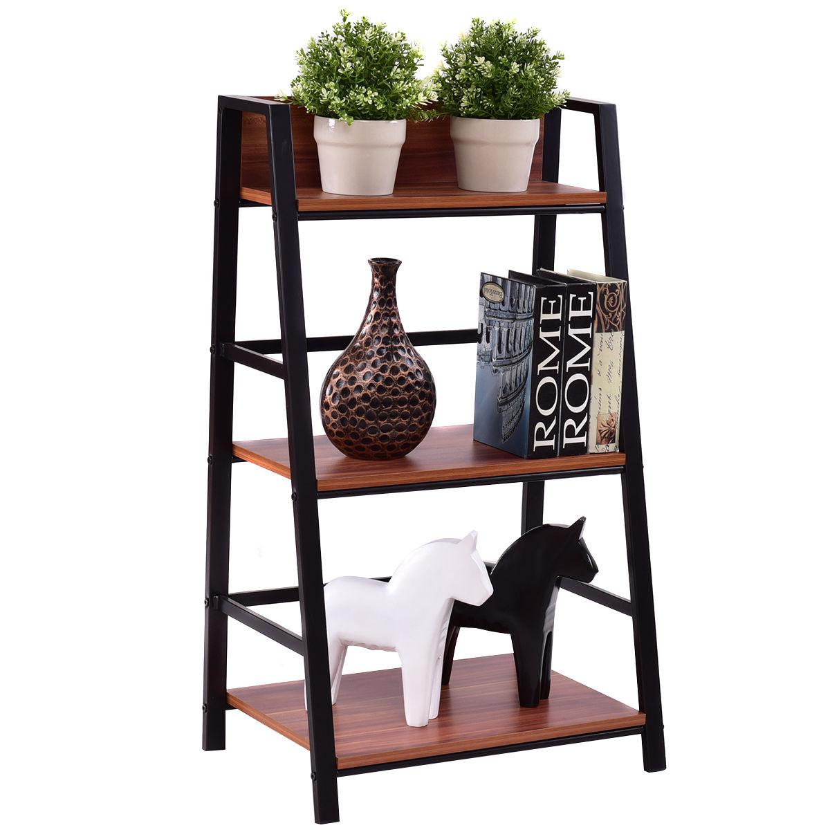 Giantex 3 Tier Ladder Display Shlf Living Room Storage Bookshelf Wooden Wall Bookcase Modern Floor Decor Furniture HW55403