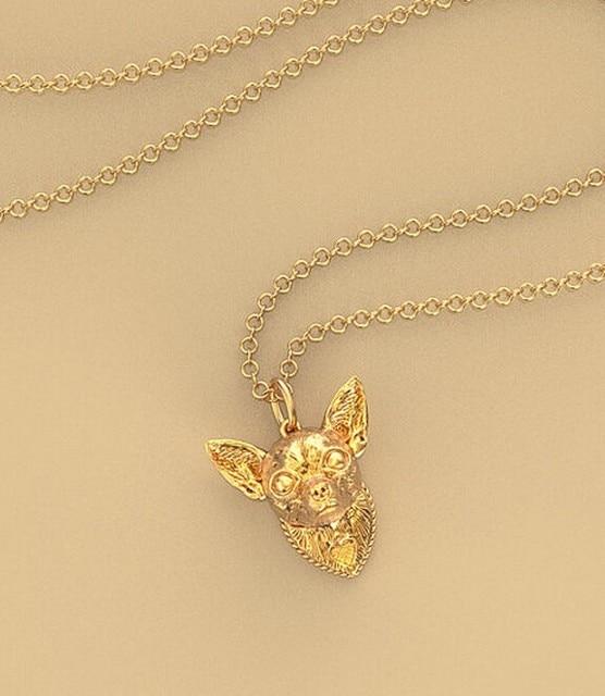 Купить ожерелье чихуахуа металлическая подвеска в виде собаки с золотым