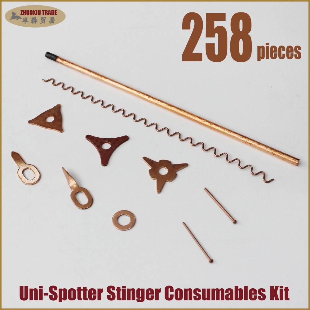 258 pieces Stud Gun Starter Welding Welder Kit, with wiggly wires, Car Puller Washers,Pulling pads(SS-258) mig welder 3m cable spool gun push pull feeder aluminum copper or stainless steel dc 24v motor wire 0 6 1 2mm welding gun