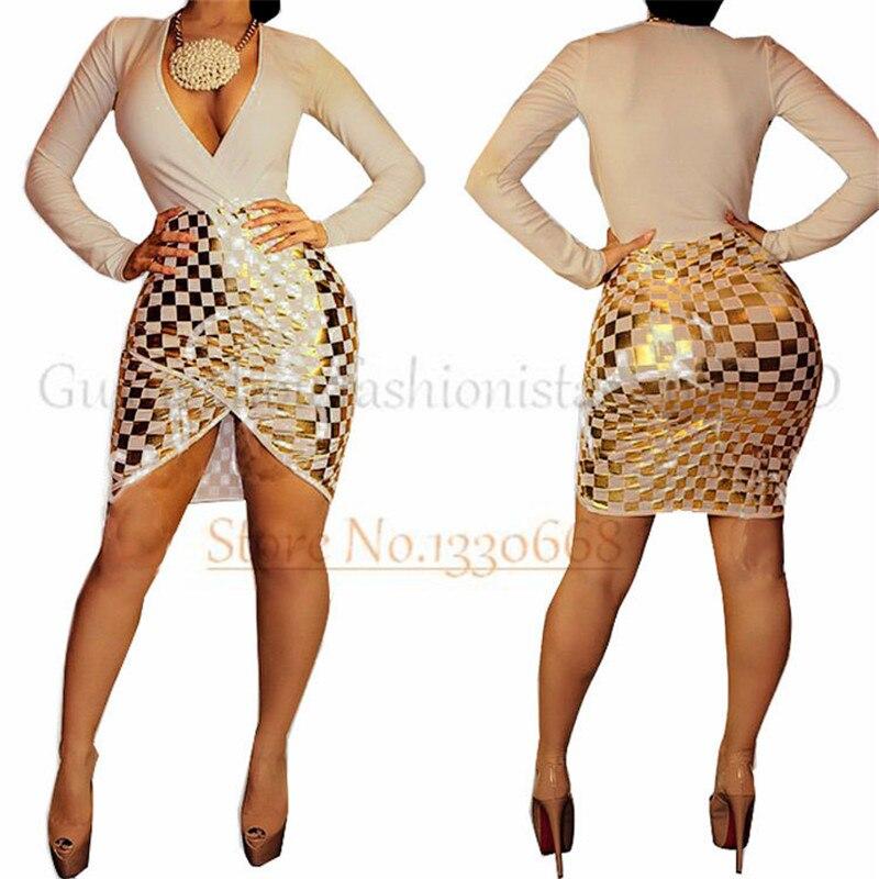 Plus Size Dress Women Sexy Evening Deep V Neck Gold Foil Plaid Party