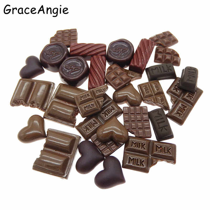30pcs Mix Resin Food/Romantic Chocolate Heart Flatback Jewelry Cookie Cake Geometric Icecream Lollipops Cabochons Slime Charms