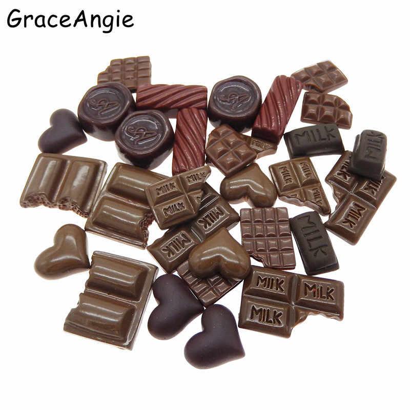 30pcs Mix Resin Food/Romantic Chocolate Heart Flatback Jewelry Cookie Cake Geometric Icecream Lollipops Cabochons Slime Charms