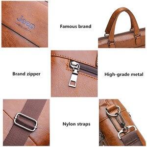 Image 5 - JEEP BULUO sacs à bandoulière en cuir pour hommes, sac à main pour 13 pouces mallette daffaires de marque célèbre de styliste pochette dordinateur, sac à main de voyage 6013