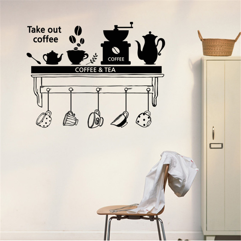 Removable Home decor Wall sticker Coffee Tea Time Dining room Parlour Wall Stickers Kitchen Sticker DIY Home Decor Mural