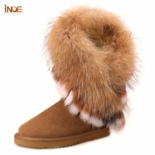 INOE fashion natural fox fur cow split leather lady high snow boots for women winter boots flats shoes rabbit fur tassels edging