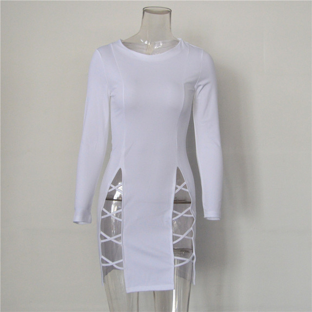 White long sleeve bandage dress
