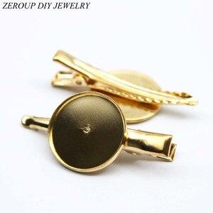 ZEROUP 20mm 10 Uds horquillas chapadas en oro rosa horquilla cabujones de vidrio camafeo Base suministros para joyería HC-007