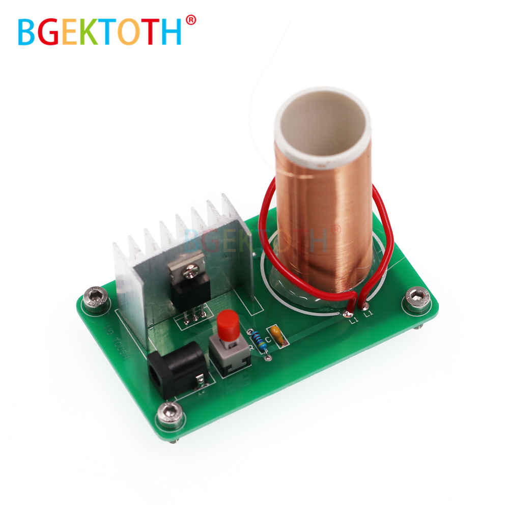Newest Diy Mini Tesla Coil Kit Magic Props Parts Empty Lights Circuit Simulator 9v 12v Music 15w Plasma Speaker Arc Generator Wireless Transmission Electronic