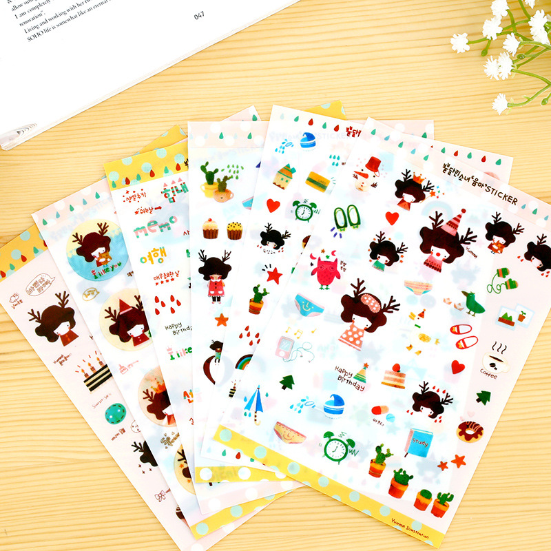 5 sets/1 lot cartoon Antlers Girl diary deco kawaii planner stickers/sticky note/post it/Decoration Label