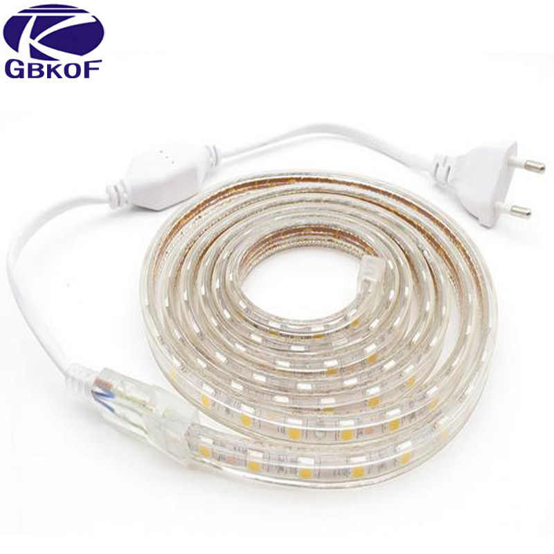 5050 LED Strip Light AC220V 60 LEDs/M กันน้ำ IP67 LED ไฟ LED EU Plug 1M/2M/3M/8M/9M/10M/20M