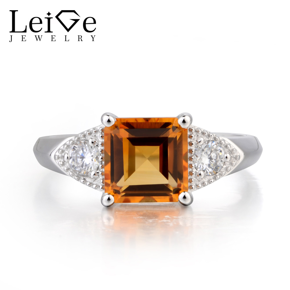 Leige Jewelry Proposal Ring Nature Citrine Ring Square Cut Yellow Gemstone 925 Sterling Silver Prong Setting Ring for Women