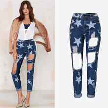 Fashion All Match Boyfriend Jeans High Waist Jeans Ripped Jeans For Women Loose Star Printing Nine