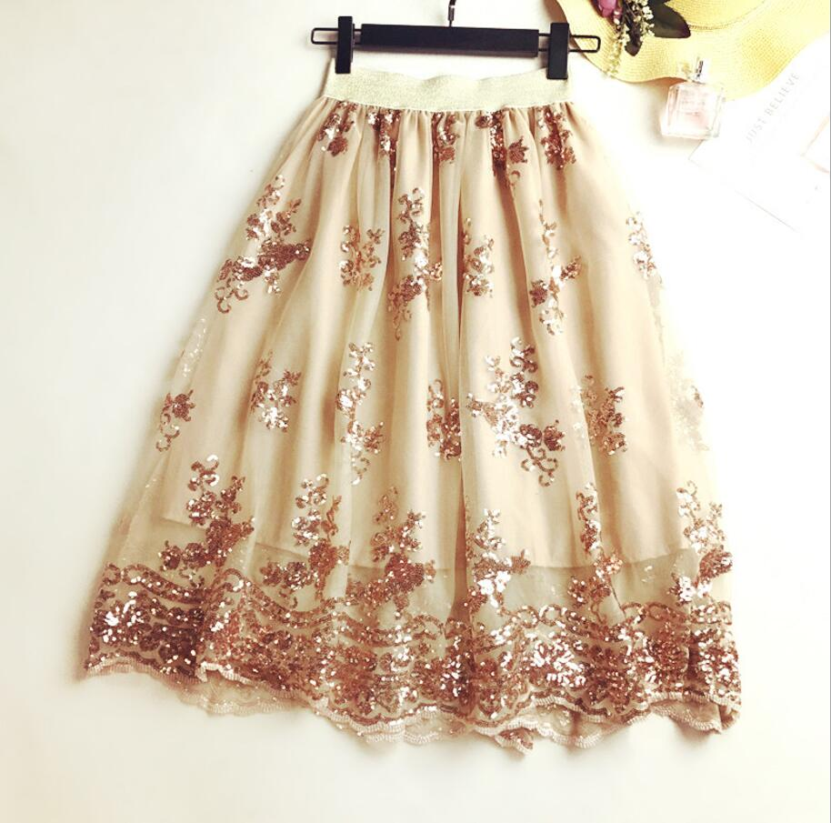 2018 Skirts New Women Girls Middle Long Calf Elastic Force Black Khaki Sequins Lace Sexy Splicing High Waist Cultivation Downloa 3