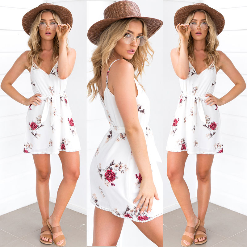 new arrival ea536 5a74d US $4.72 30% OFF|Frauen Urlaub Mini Overall Damen Sommer strandkleid Damen  Frauen Mädchen Sexy Sommerkleid Kleidung Größe 6 14 UK-in Kleider aus ...