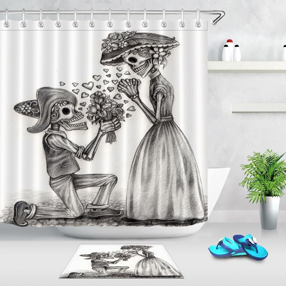 LB In Love Skull Day Of The Dead White Halloween Shower