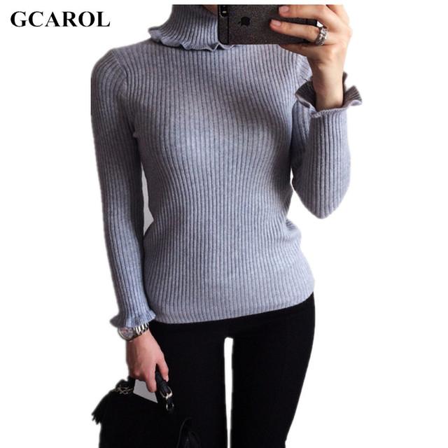Mulheres ruffles manga gcarol trecho camisola de gola alta básica casuais pullovers de malha ol breve deisng outono inverno malhas